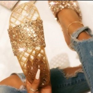 Sexy gold dripping bling slide sandals